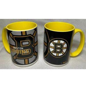 2 Boston Bruins Fan Coffee 15 oz Mugs Cups